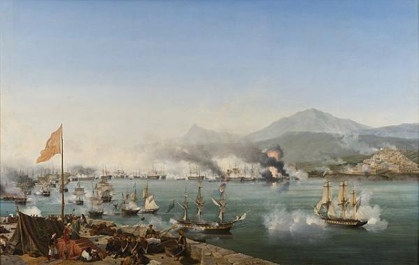 The Naval Battle of Navarino (1827). Dipinto di Ambroise Louis Garneray