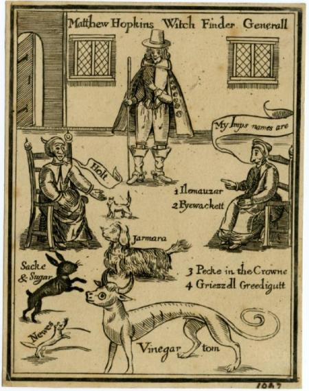 """The ‎discovery of the witches"", 1647, copertina del manuale di caccia alle streghe scritto da Matthew ‎Hopkins.‎"