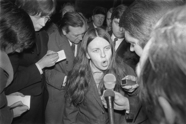 1st February 1972: Bernadette Devlin, Independent Unity MP for Mid-Ulster and founder member of the People's Democracy Movement, gives her side of the story to the press at the House of Commons after she punched Home