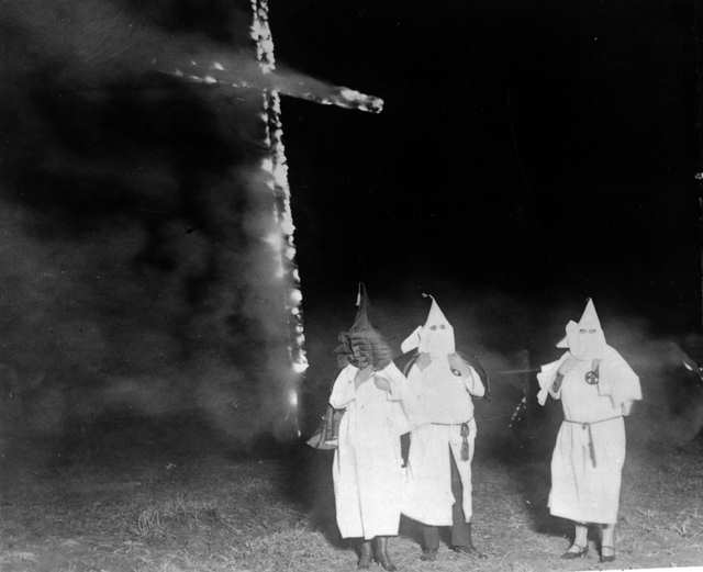 KKK burning cross, 1921.