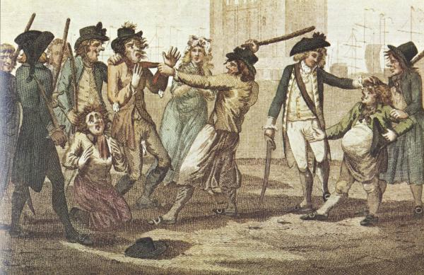 Vignetta raffigurante una press-gang in azione, 1780