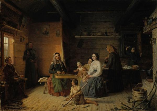 Kreeta_Haapasalo_Playing_the_Kantele_in_a_Peasant_Cottage