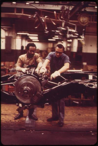 Cadillac assembly line, 1973