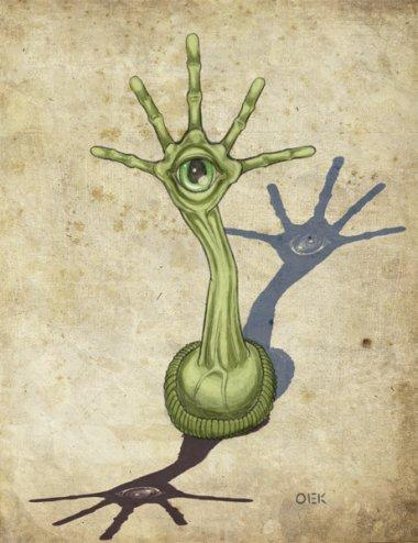 Un tipico tralfamadoriano, della forma di un cavaturaccioli con un occhio sopra una mano spalancata. Qualsiasi cosa prendesse Vonnegut, la voglio anch'io.