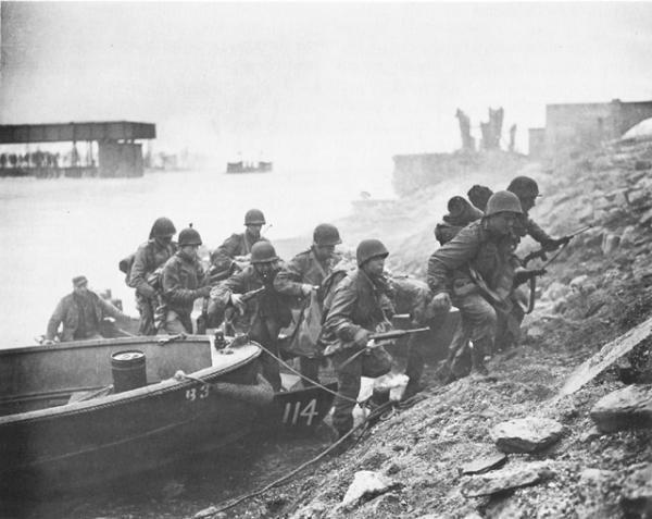 Crossing the Rhine River, March 1945