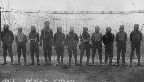 British soccer team with gas masks, 1916