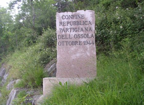 A border stone of the Partisan Republic of Ossola Valley, October 1944.