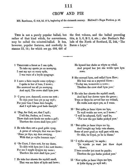 La ballata nella pagina a stampa della I edizione delle English and Scottish Popular Ballads di Francis James Child (Volume II, p. 478)