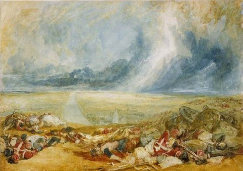 Joseph Mallord William The Field of Waterloo (Hougoumont)  (circa 1817). Fitzwilliam Museum, Cambridge