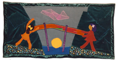 Bygge broer / Building Bridges. Peace banner from Danish artist Mie Bak Jakobsen, Women for Peace.