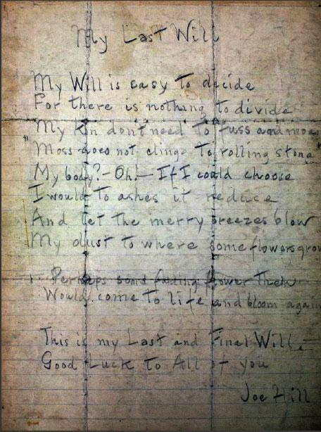 joe hill last will