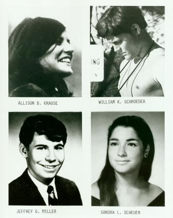 Four slain students at Kent University, May 4, 1970