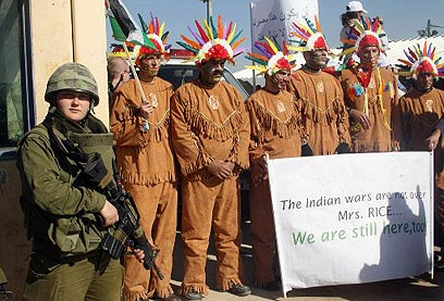 PALESTINDIANS: Protesters at Huwwara checkpoint dressing like Native Americans