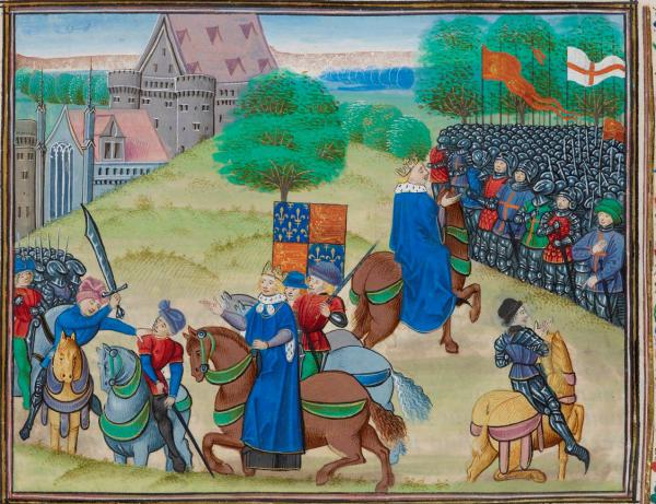 "Death of Wat Tyler / King Richard confronts the peasants, dalle ""Chronicles"" di Jean Froissart, 1483 circa, British Library."