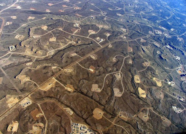 fracked landscape in Wyoming