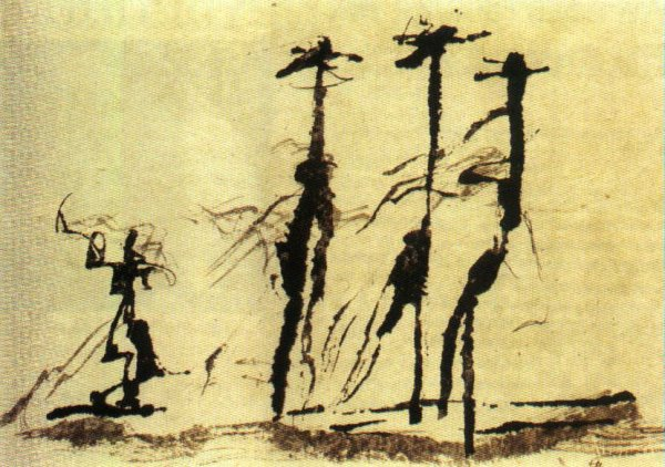 La plume du peintre. Disegno a penna di Henri Michaux. <br />