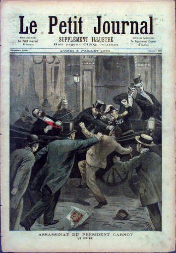 Lione, 24 giugno 1894. Sante Caserio pugnala a morte il presidente Marie-François Sadi Carnot. Illustrazione dal Petit Journal del 2 luglio 1894.