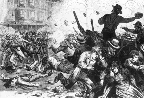 Baltimore, 1877 scontri tra lavoratori e militari durante il Great Railroad Strike